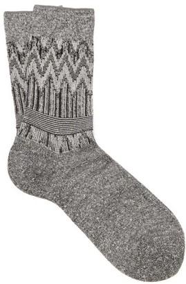 Falke Mexicali Chevron-jacquard Socks - Womens - Grey Multi