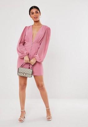 Missguided Pink Chiffon Milkmaid Button Down Mini Dress