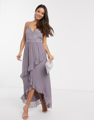 Little Mistress Paige lace detail maxi dress with frill in lavender
