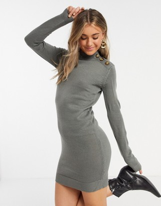 Brave Soul rula knitted sweater dress with buttons