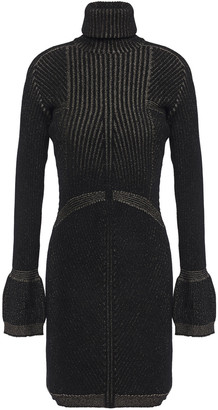 Just Cavalli Metallic Ribbed Chenille Turtleneck Mini Dress