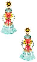 Elizabeth Cole Flower & Multi Tassel Statement Earrings