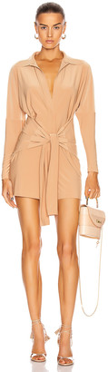 Norma Kamali Tie Front NK Shirt Jumpshort in Nude | FWRD
