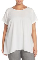 Vince Camuto High/Low Short Sleeve Blouse (Plus Size)