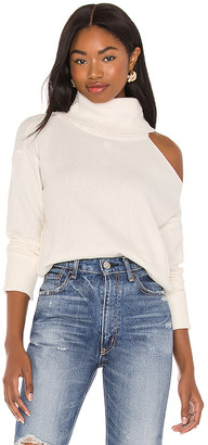 1 STATE Turtleneck Cold Shoulder Sweater