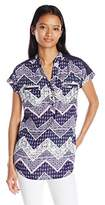My Michelle Junior's Printed Short Sleeve Equipment Top with Crochet Yoke