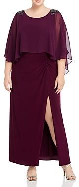 Adrianna Papell Embellished Chiffon Capelet Dress
