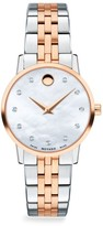 Movado Mother-of-Pearl, Rose-Goldplated, Stainless Steel & Diamond-Trim Bracelet Watch