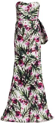 Badgley Mischka Floral Mikado Strapless Column Gown