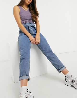 Topshop paperbag waist Mom jeans in mid blue