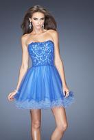 La Femme 20386 Bedazzled Tulle A-line Dress