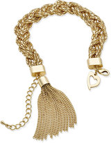 Thalia Sodi Gold-Tone Braided Tassel Link Bracelet, Only at Macy's