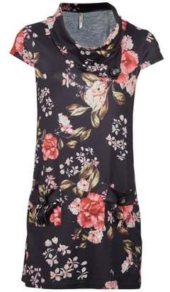 Dorothy Perkins Womens *Izabel London Black Floral Print Roll Neck Shift Dress, Black