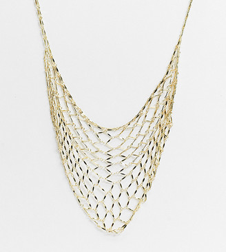 Orelia statement mesh necklace in gold plate