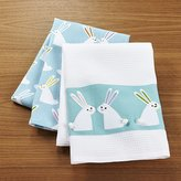 Crate & Barrel Easter Bunny Dish Towels Set of Two
