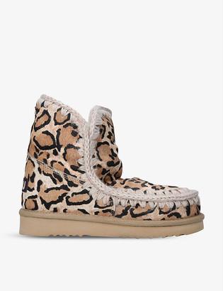 Mou Eskimo leopard-print leather and sheepskin boots