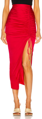ATTICO Ruched High Slit Midi Skirt in Raspberry | FWRD