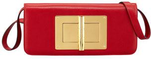 Tom Ford Natalia Calfskin East-West Shoulder Bag, Red