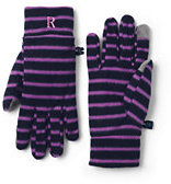 Lands' End Women's 100 Fleece Pattern EZ Touch Gloves-Jet Black
