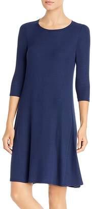 Three Dots Three-Quarter Sleeve Ribbed Dress