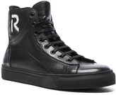 Raf Simons R Logo and Trashed Laces Leather Sneakers in Black