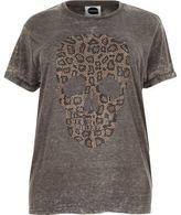 River Island Womens Plus grey leopard skull boyfriend T-shirt