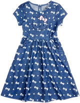 Hello Kitty Bow-Print Denim Dress, Little Girls (4-6X)