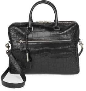Saint Laurent Crocodile Embossed Leather Briefcase