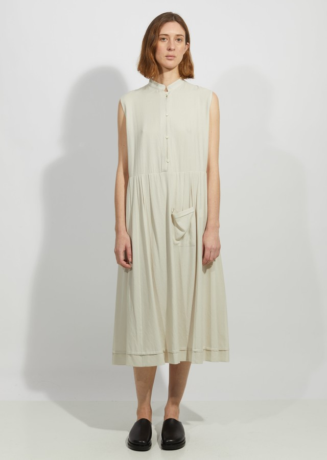 La Garçonne Moderne Chalk Mandarin Dress
