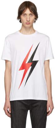 Neil Barrett White Lightning Bolt T-Shirt