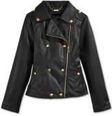 Jessica Simpson Faux-Leather Military Biker Jacket, Big Girls (7-16)