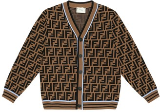 Fendi Kids FF-jacquard wool cardigan