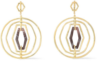 Noir 14-karat Gold-plated Agate Earrings