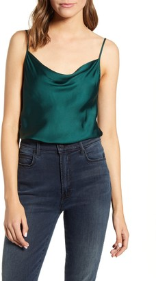 7 For All Mankind Cowl Neck Satin Tank Top