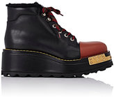 Prada Women's Cap-Toe Platform Hiking Boots-BLACK
