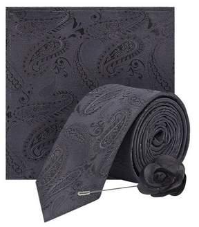 Dorothy Perkins Womens **Burton Grey Paisley Tie And Matching Pocket Square Set, Grey
