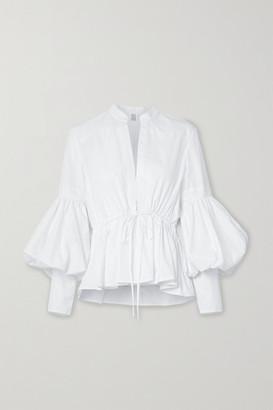 Rosie Assoulin Lantern Oversized Cotton-blend Poplin Peplum Blouse - White