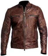 CHICAGO-FASHIONS Vintage Cafe Racer Biker Leather Jacket