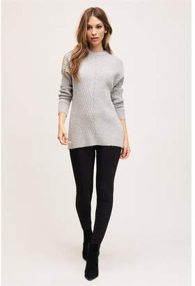 Dynamite Textured Tunic Sweater - FINAL SALE Dove Wing/Black Marl