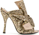 No.21 glitter strap mules - women - Leather/Polyester - 35.5