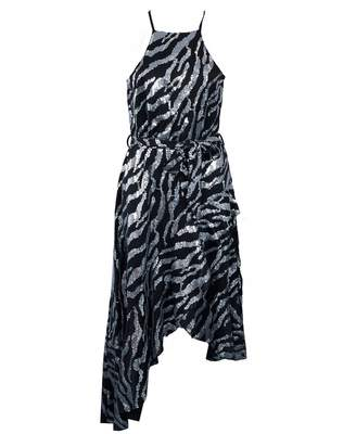 Forever Unique Collection Zebra Sequin Midi Dress Colour: Black And Si
