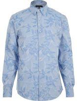 River Island MensBlue jacquard slim fit shirt