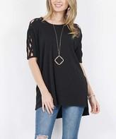 Lydiane Women's Tunics BLACK - Black Crewneck Short-Sleeve Crisscross-Cutout Hi-Low Top - Women