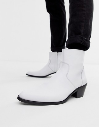 ASOS DESIGN cuban heel western chelsea boots in white leather