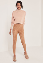 Missguided Faux Suede Leggings Nude
