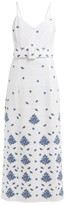 Rebecca De Ravenel Floral-embroidered Cotton Dress - Womens - White Multi