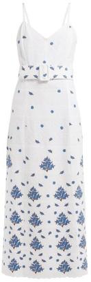 Rebecca De Ravenel Floral-embroidered Cotton Dress - Womens - White Multi