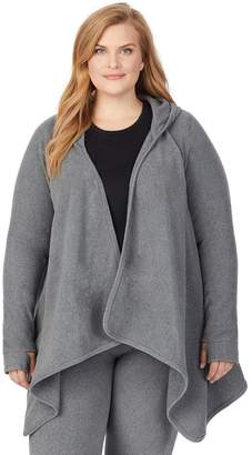 Cuddl Duds Women's Fleecewear with Stretch Long Sleeve Hooded Wrap