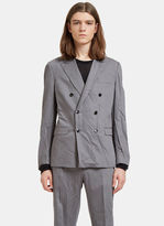 Valentino Men's Creased Double-breasted Blazer Jacket In Grey