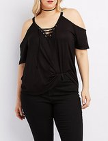 Charlotte Russe Plus Size Lace-Up Cold Shoulder Tee